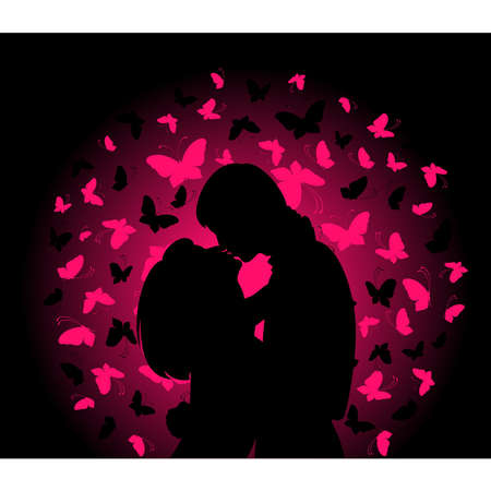 silhouette of lovers on a background with butterflies Vector