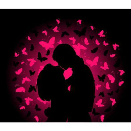 silhouette di amanti su uno sfondo con farfalle