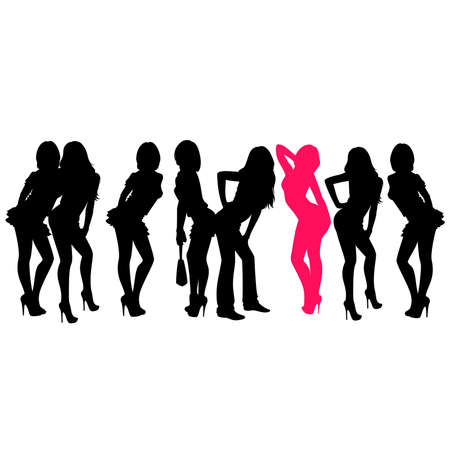 silhouette of girls is isolated