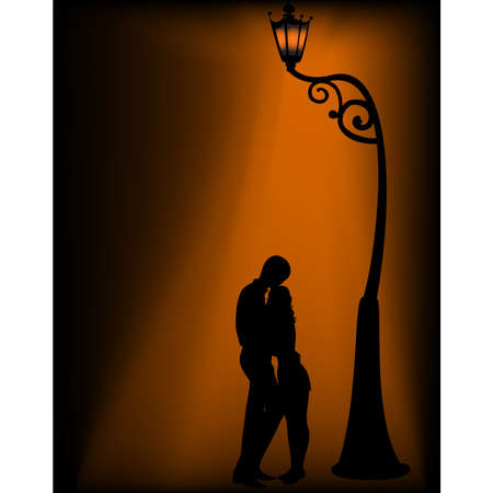 Silhouettes of two lovers under a lantern Vector