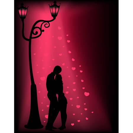Silhouettes of two lovers under a lantern Stock Vector - 8608370