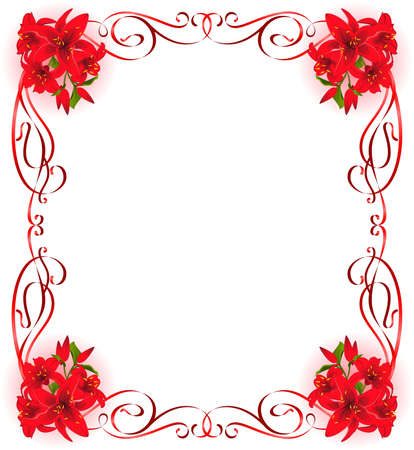 tropical border: Beautiful frame with Lily