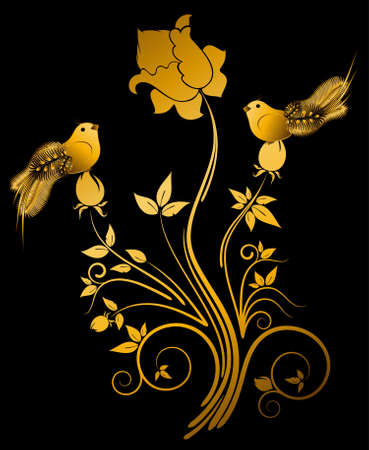 Beautiful little birds on flowers photo