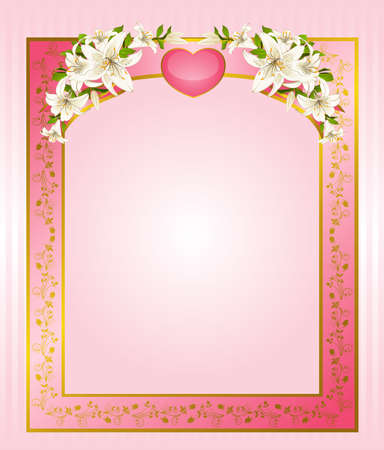 Wedding background card - invitation with heart and flowers photo
