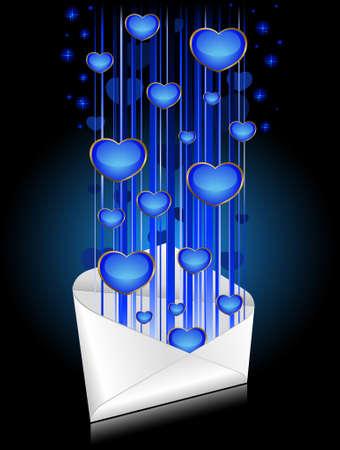 Celebratory envelopes with blue hearts photo