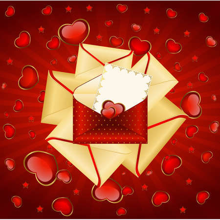 Celebratory envelopes with red hearts Vector