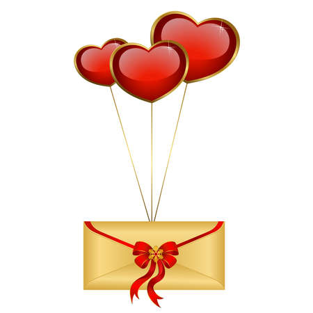 Celebratory envelope with red hearts Stock Vector - 9089551