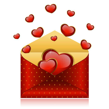Celebratory envelope with red hearts Vector
