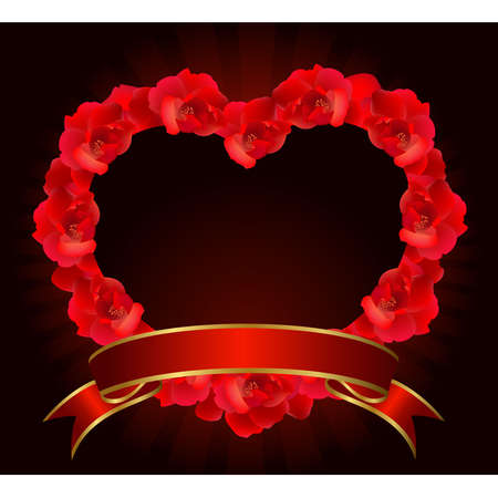 red rose border: Red rose heart with ribbon.