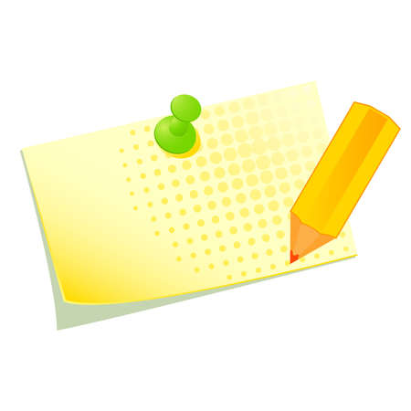 Vector illustration of a yellow sticky with a pencil Stock Vector - 9089554