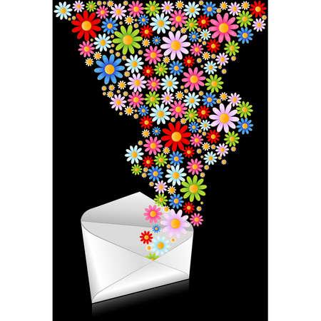 Celebratory envelope with flowers. Stock Vector - 9089559