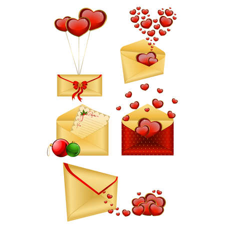 Celebratory envelopes with red hearts Stock Vector - 9089566