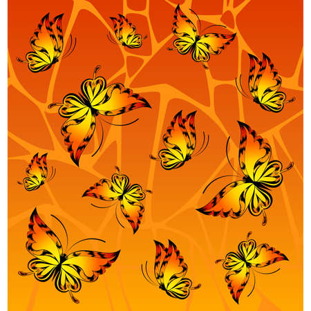 abstract background with tropical butterflies Stock Vector - 9089591