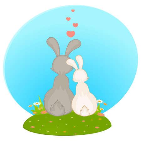 cartoon little toy rabbits Vector