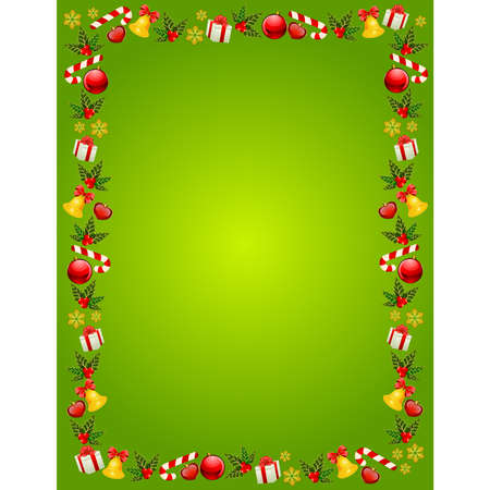bolls: christmas background with bolls, bells and gifts Illustration