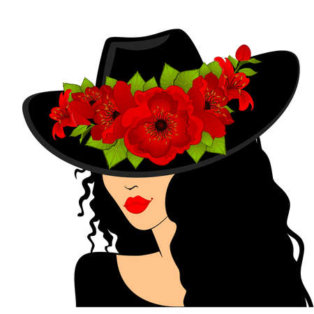 botany woman: Beautiful girl in hat with beautiful tropical flowers