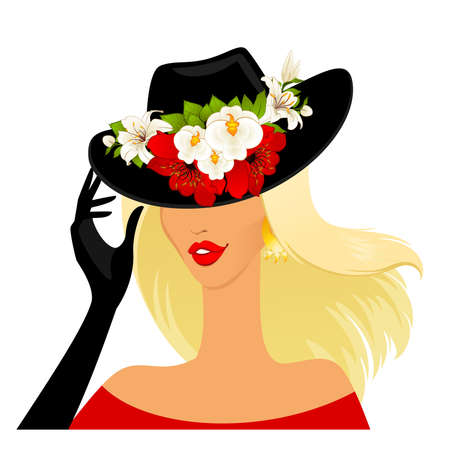 red head woman: Beautiful girl in hat with beautiful tropical flowers