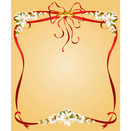 two wedding rings on a background with lillies Vector