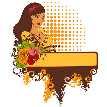 Beautiful girl with tropical flowers on an abstract background Vector