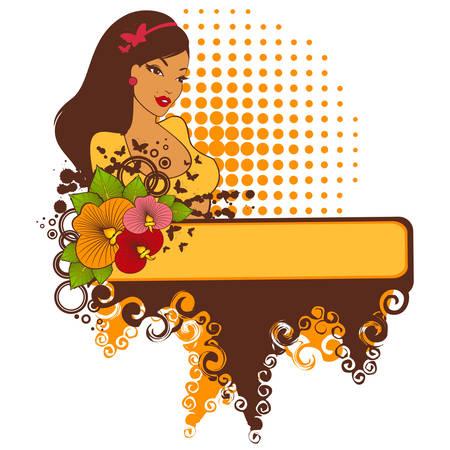 Hermosa chica con flores tropicales sobre un fondo abstracto Ilustración de vector