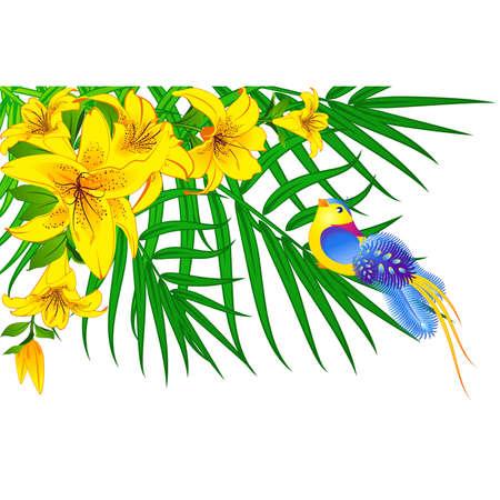 Beautiful little birds on flowers Vector