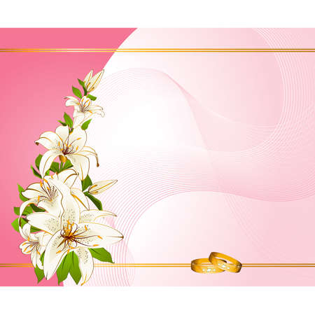 two wedding rings on a background with lillies Stock Vector - 9029697