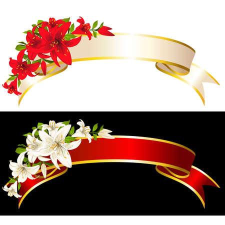 botanics: Set of ribbons with beautiful flowers