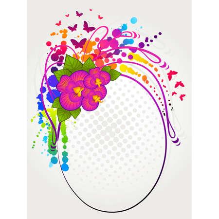 botanics: Beautiful grunge background with abstract flowers Illustration