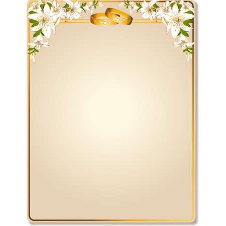 anniversario di matrimonio: due anelli di nozze su uno sfondo con i fiori Vettoriali