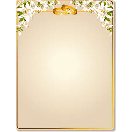 golden ring: two wedding rings on a background with flowers