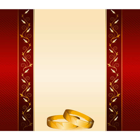 two wedding rings on a background with flowers Stock Vector - 9081935