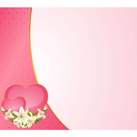 Tarjeta de fondo de boda - invitaci�n con corazones y flores Foto de archivo - 9081937