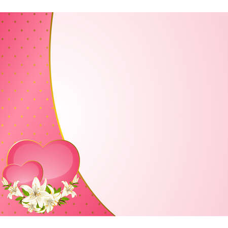 Wedding background card - invitation with hearts and flowers Vector