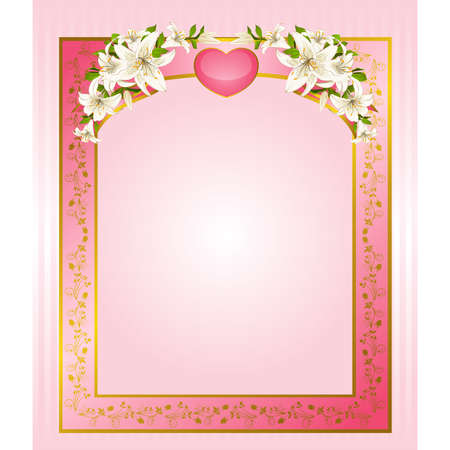 Wedding background card - invitation with heart and flowers Vector