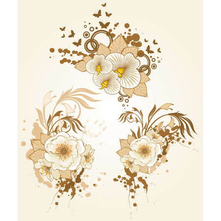 Abstract background with beautiful flowers and blots Vector