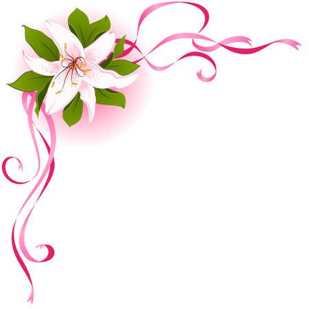 bordure floral: Beautiful frame avec Lily Illustration