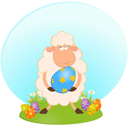 Easter sheep with colored egg. Easter card photo