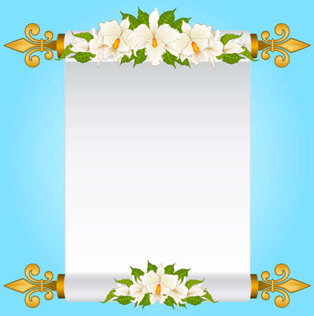 Old paper in scrolls with white orchids Stock Photo - 9203078