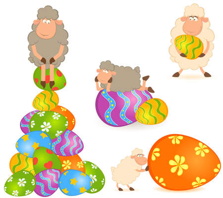 Easter sheep with colored egg. Easter card set photo