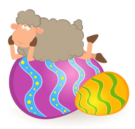 Easter sheep with colored egg. Easter card Stock Photo - 9203018