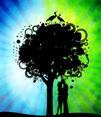 Abstract colorful tree with lovers photo
