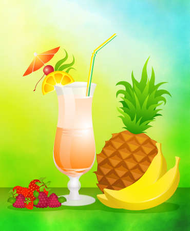 Fruits cocktail with fruits photo