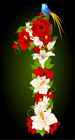 illustration of floral one symbol