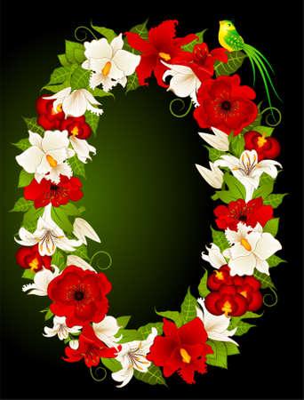 illustration of floral zero symbol illustration