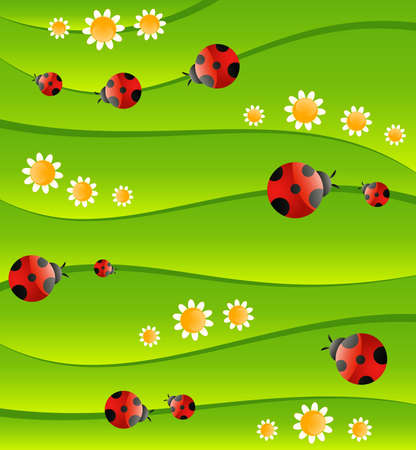 Green background with small ladybug. photo