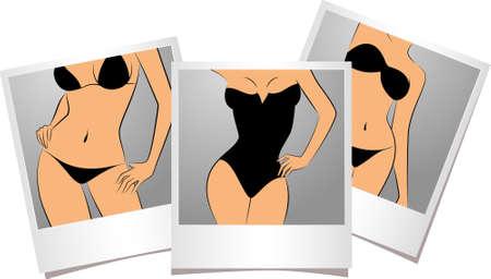 beautiful breasts: Beautiful sexy girls in photo frames.  Stock Photo