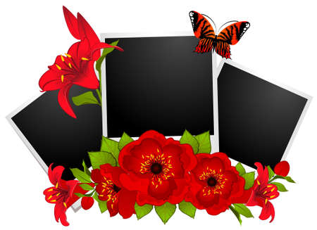 dresser: photo frames with flowers