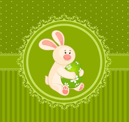 Easter Bunny with colored egg. Easter card Stock Photo - 9572946