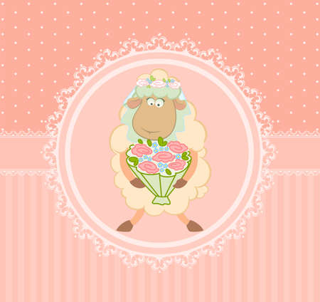Cartoon sheep bride on background photo