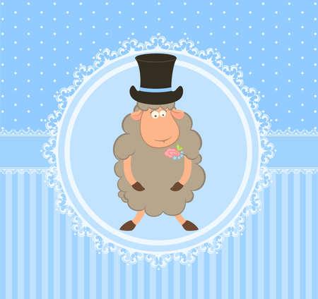 Cartoon sheep fiance on background Stock Photo - 9572944